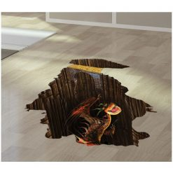 3D Dragon Floor Sticker For Home Decoration - Brown