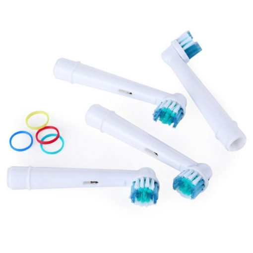 4 Piece Electric Tooth Brush Head Replacement with Soft bristles - White