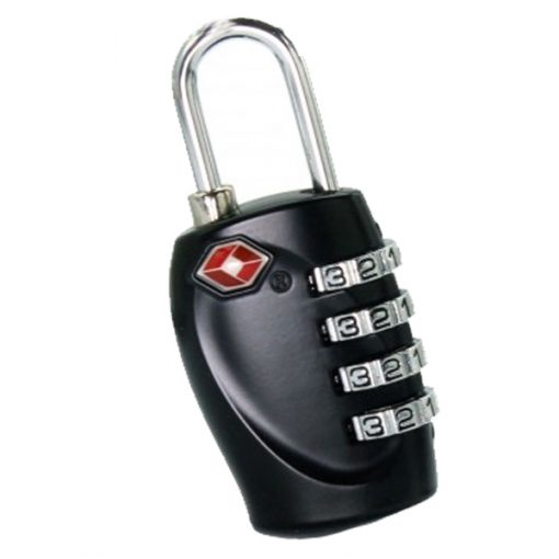 4 Digit Combination Travel Padlock - Black