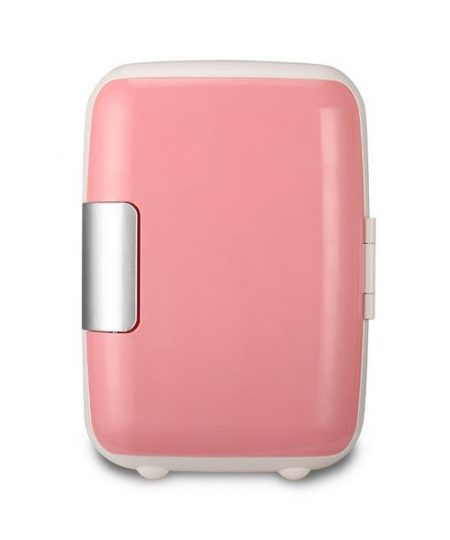 4 Liter Personal Mini Fridge Cooler and Warmer for Car and Home - Pink