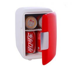 4 Liter Personal Mini Fridge Cooler and Warmer for Car and Home - Red