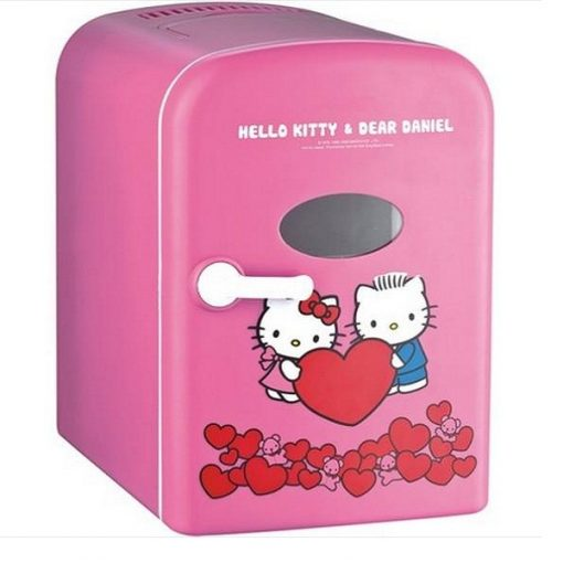 4 Liter Personal Mini Fridge Cooler and Warmer for Car and Home- Pink Hello Kitty And Daniel