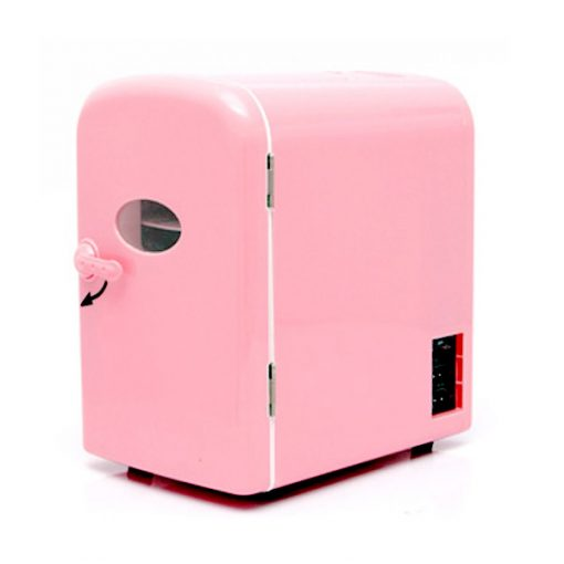 4 Liter Portable Personal Mini Fridge Ref Cooler Warmer For Car Home and Office - Pink