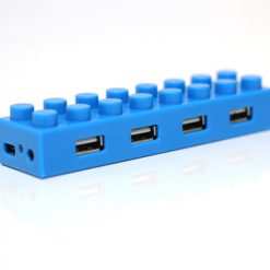 4 Port Block Type High Speed USB 2.0 Hub - Blue