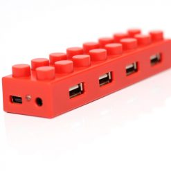 4 Port Block Type High Speed USB 2.0 Hub  - Red