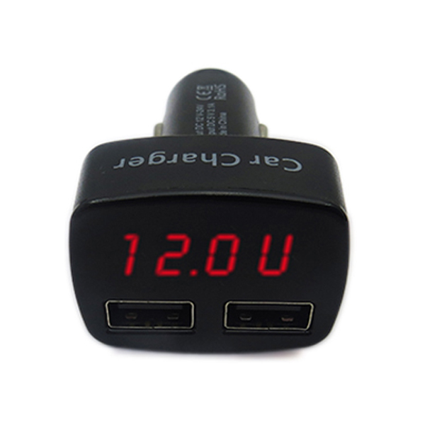 Multifunction Dual USB Port 3.1A Car Charger With Voltage Current Display - Black