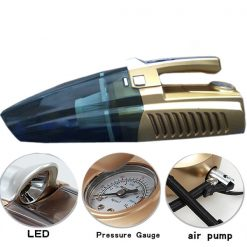 4 in 1 Portable Car Vacuum Cleaner With LED Light And Tire Inflator And Pressure Gauge - Gold