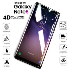 4D Grade Full Screen Cover Protector Tempered Glass for Samsung Galaxy Note 8 - Clear