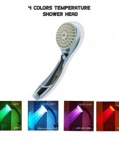 4 color Changing  Bathroom Temperature LED Shower Head - Silver
