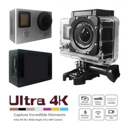 16 MP Wifi Action Camera with 2 Inch LCD Monitor And Fron LCD Screen - Silver