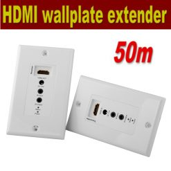 50 Meters HDMI Wall Plate Extender VIA Cat5 Cat6 LAN Cable- White