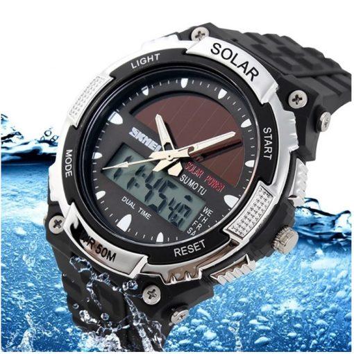 50M Waterproof Dual Mode Watch Silver - Black
