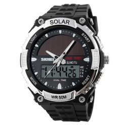 50M Waterproof Dual Mode Watch Silver - Black