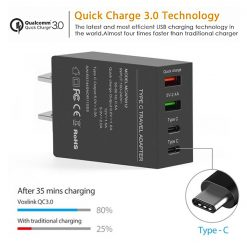 50w QC3.0 4 Port (2 USB-A + 2  Type-C) Wall Charger - Black