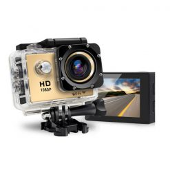 5 MP Photo Resolution 5 MP Image Sensor  WIFI Action Camera with 1.5 inch LCD Monitor - Gold