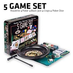 5 Game Set Roulette Poker Blackjack Craps Poker Dice - Black