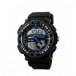 50M Waterproof Double Movement Sports Digital Watch - Blue