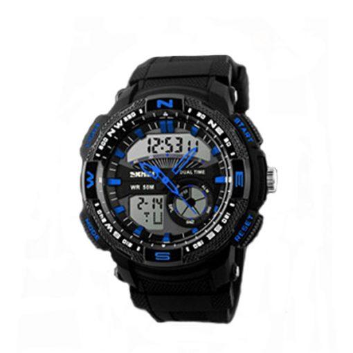 50M Waterproof Double Movement Sports Digital Watch - Blue