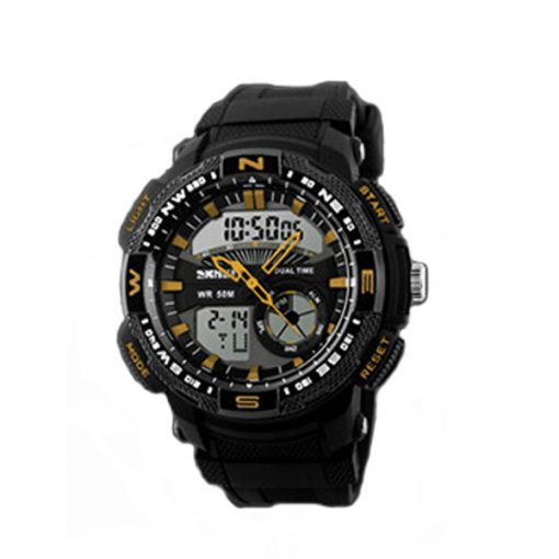 50M Waterproof Double Movement Sports Digital Watch - Gold