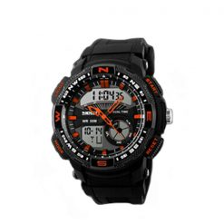 50M Waterproof Double Movement Sports Digital Watch - Orange