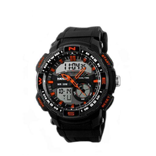 50M Waterproof Double Movement Sports Digital Watch - Orange