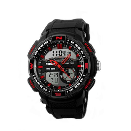 50M Waterproof Double Movement Sports Digital Watch - Red