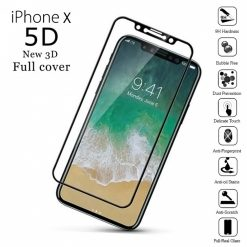 5D Grade Full Screen Protector Tempered Glass for iPhone X or 10 - Black