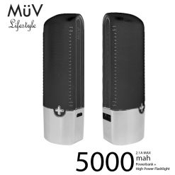 MϋV Leather Finish 5000mah Powerbank With 200 Lumen LED Flashlight - Black