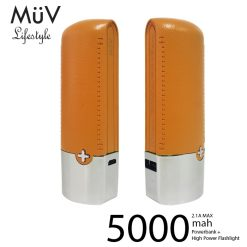 MϋV Leather Finish 5000mah Powerbank With 200 Lumen LED Flashlight - Orange