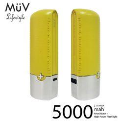 MϋV Leather Finish 5000mah Powerbank With 200 Lumen LED Flashlight - Yellow