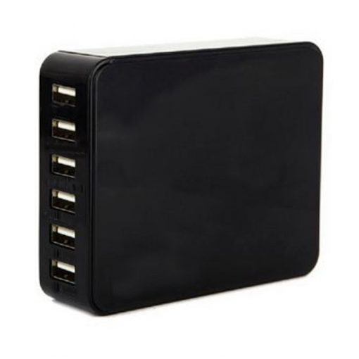 6 Port USB Charger Power Adapter - Black