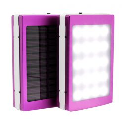 7,000 mAh Solar Power Bank With LED Panel Light - Purple