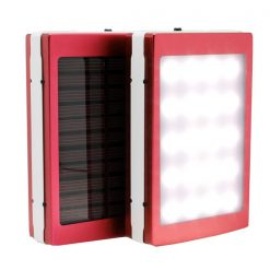 7,000 mAh Solar Power Bank With LED Panel Light - Red