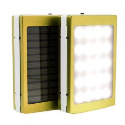 7,000 mAh Solar Power Bank With LED Panel Light - Yellow