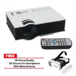 800 Lumens LED Projector With Built In VGA Port Multimedia Projector - White with Free VR Virtual Reality 3D Glasses For Smartphone With White Remote - White