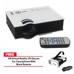 800 Lumens LED Projector With Built In VGA Port Multimedia Projector - White with Free VR Virtual Reality 3D Glasses For Smartphone With Black Remote - White