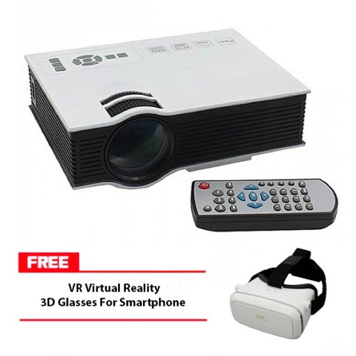 800 Lumens LED Projector With Built In VGA Port Multimedia Projector - White With Free VR Virtual Reality 3D Glasses For Smartphone - White