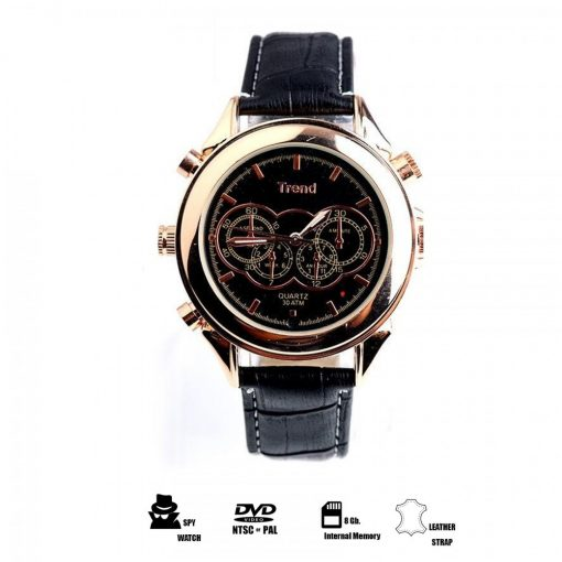 8GB MP3 Player DVR Water Resistant Spy Camera Watch - Rose Gold