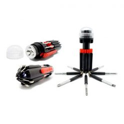8 in 1 Multifunction Screwdriver With LED Portable Torch  - Black