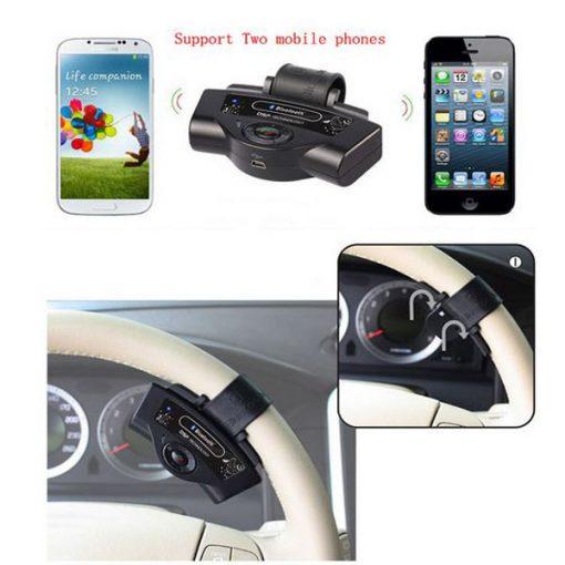 A2DP Steering Wheel Bluetooth Handsfree Car Kit - Black