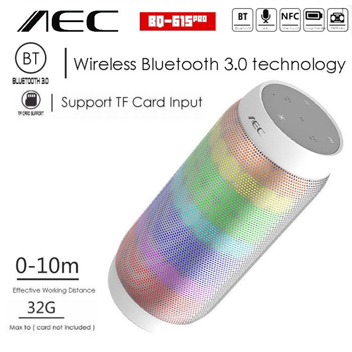 AEC Bluetooth Speaker With NFC MP3 And FM Radio - White - LatestGadget