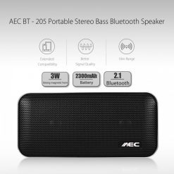 AEC Portable Stereo Bass Bluetooth Speaker With Built In 2600 MAH Powerbank - Black