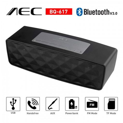AEC Multifunction Bluetooth Speaker with Powerbank and FM Radio - Black