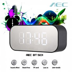 AEC BT501 Alarm Clock Wireless Bluetooth Speaker LED Display - Black