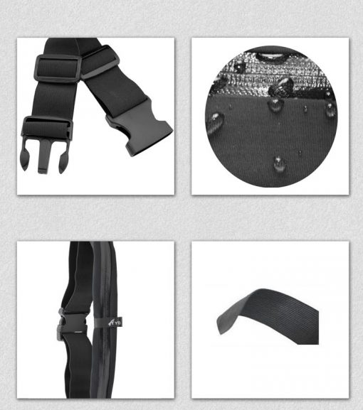 Outdoor Sports Anti-Theft 2 Zipper Polyester Waist Bag - Black