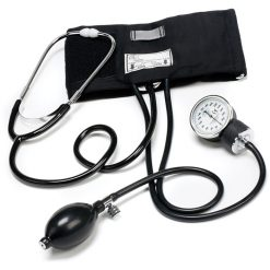 Aneroid Blood Pressure Cuff Set Sphygmomanometer with Stethoscope Kit - Black
