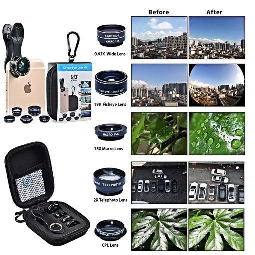 APEXEL 10 in 1 Cellphone Lens Kit - Black