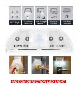 Auto PIR Keyhole 4 Led Light With Motion Sensor Detector - Silver