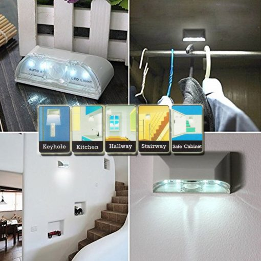 Auto PIR Keyhole 4 Led Light With Motion Sensor Detector - Silver