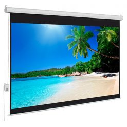 """100"""" 4:3 Electric Motorized Projection Screen - White"""